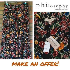 Philosophy Maxi Floral Boho Summer Skirt NWT
